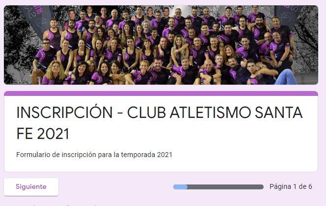Inscripciones 2020 Club Atletismo Santa Fe